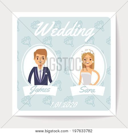 Wedding invitation vector card with happy married couple - cartoon bride and groom. Wedding love groom and bride card illustration