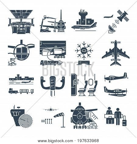 set of black icons airport and airplane control tower aircraft