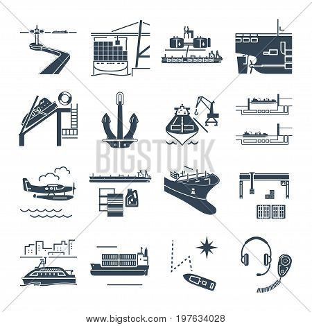 set of black icons water transport and sea port merchant shipping tanker freighter