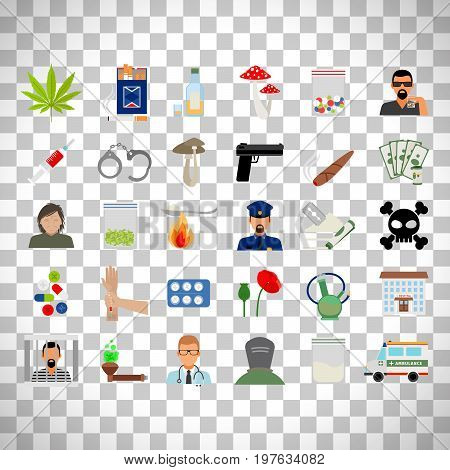 Drugs and addiction flat icons isolated on transparent background
