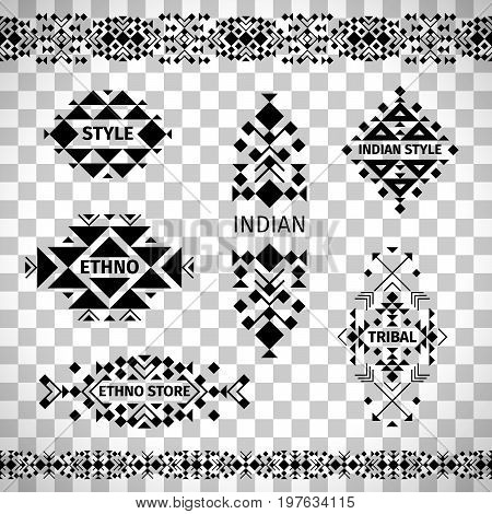 Ethno shop labels or tribal store emblems vector set isolated on transparent background