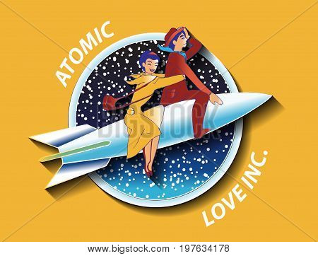 Illustration with couple of lovers on the rocket. Text: