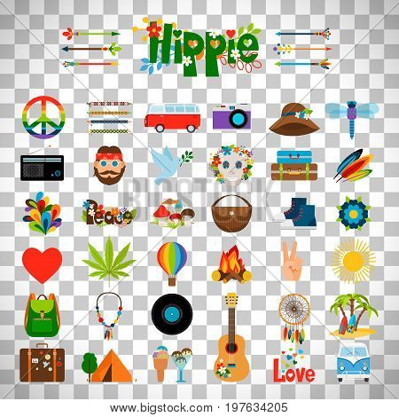 Hippie flat icons, vector hippie signs isolated on transparent background