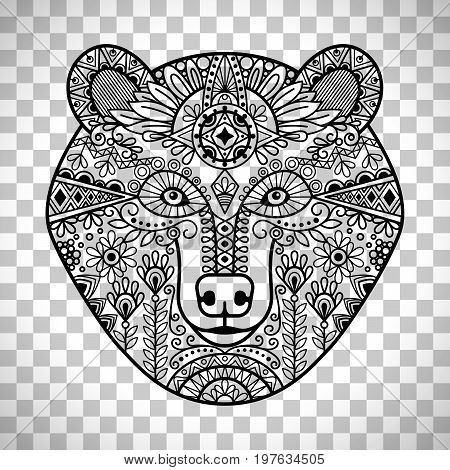 Bear head. Hand drawn doodle bear face, vector illustration isolated on transparent background