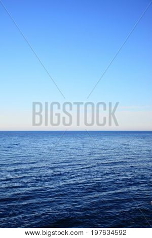 Baltic Sea - beautiful seascape with sea horizon and clear blue sky