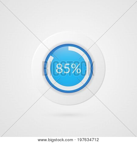 85 percent pie chart. Percentage vector infographics. Circle diagram isolated symbol. Business illustration icon for marketing presentation project planning download report web design