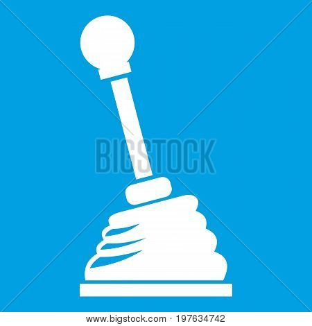 Gear stick icon white isolated on blue background vector illustration