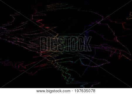 Abstract vector dark background with bright rainbow twisted lines. Vector EPS 10