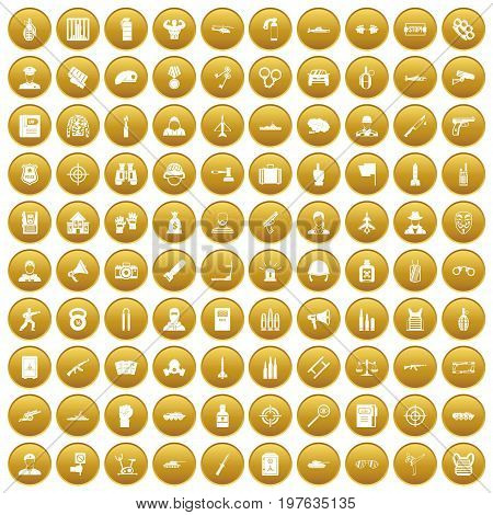 100 officer icons set in gold circle isolated on white vectr illustration