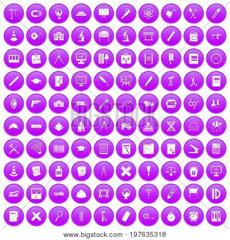 100 compass icons set in purple circle isolated on white vector illustration