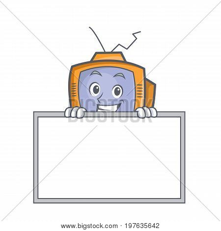 Grinning with board TV character cartoon object vector illustration