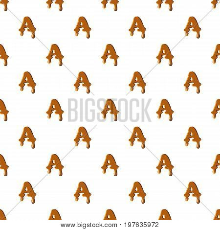 Letter A from caramel pattern seamless repeat in cartoon style vector illustration