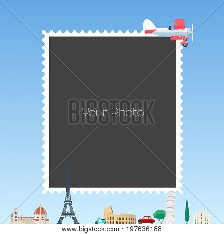 Collage of photo frames for traveling theme vector illustration. Design element of European landmarks, vintage airplane and photo frame template