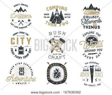 Vintage hand drawn travel badge and emblem set. Hiking labels. Outdoor adventure inspirational logos. Typography retro style. Motivational quotes for prints, t shirts, travel mug. Stock vector design.
