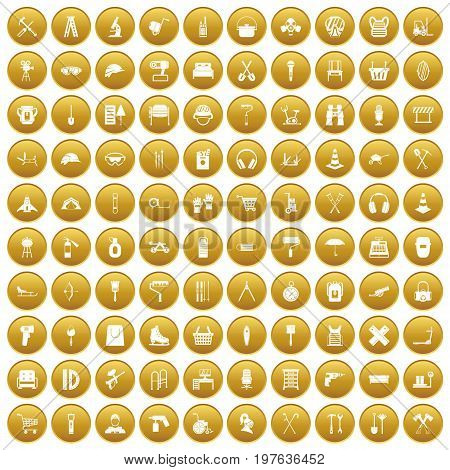 100 outfit icons set in gold circle isolated on white vectr illustration