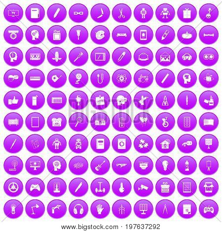 100 creative idea icons set in purple circle isolated on white vector illustration