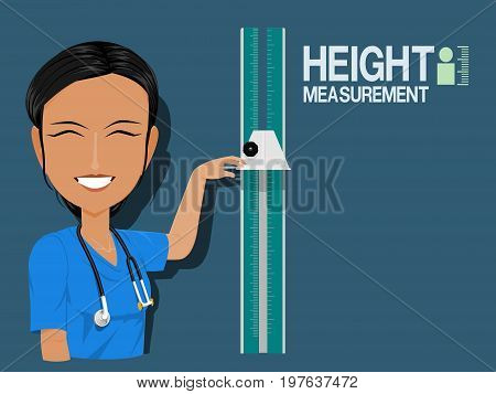 Medical staff show height measurement on blue background