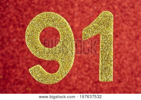 Number ninety-one yellow color over a red background. Anniversary. Horizontal