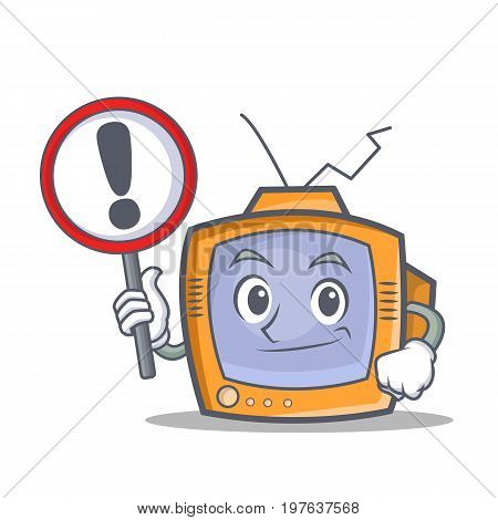 TV character cartoon object with sign vector illustration
