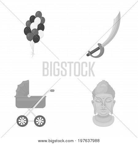 trade, business, entertainment and other  icon in monochrome style. gold, monument, idol, icons in set collection