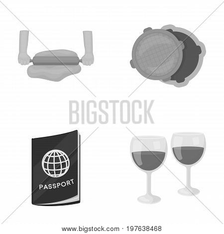 entertainment, business, tourism and other  icon in monochrome style.wine glasses, wine, drink icons in set collection.