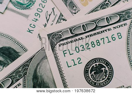 Dollars Closeup Concept. American Dollars Cash Money. One Hundred Dollar Banknotes.