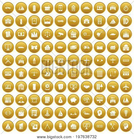 100 private property icons set in gold circle isolated on white vectr illustration