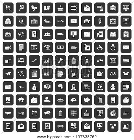 100 postal service icons set in black color isolated vector illustration
