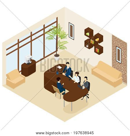 Isometric business recruitment process template with group of people interviewing candidate in office isolated vector illustration