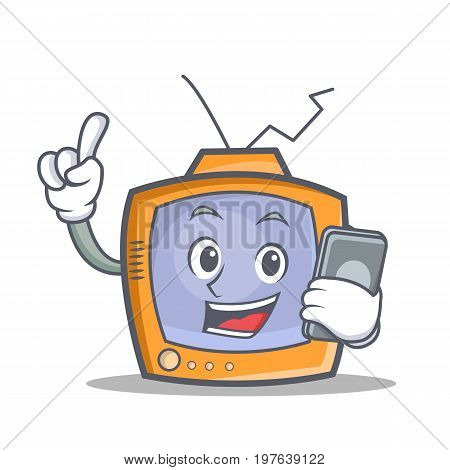 TV character cartoon object with phone vector illustration