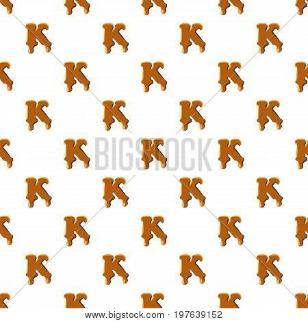 Letter K from caramel pattern seamless repeat in cartoon style vector illustration