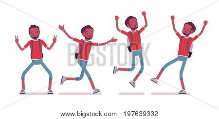 Black male tourist positive emotions. Fascinating about trip price, true relaxation, all-inclusive vacations. Travel concept. Vector flat style cartoon illustration, isolated, white background
