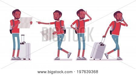 Black male tourist in trip situations. Young man with luggage, planning sightseeing route for attractions. Travel, tourism concept. Vector flat style cartoon illustration, isolated, white background