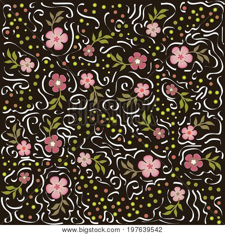 Beautiful pattern with flowers and calligraphic lines on brown background. Can be used in print, fabric, textile, wrapping, wallpaper and so on. Vector.