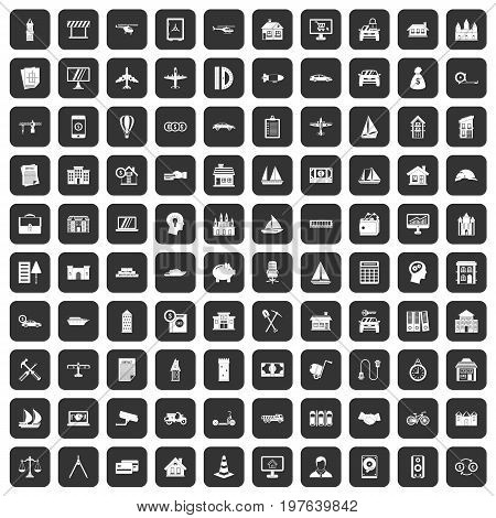 100 private property icons set in black color isolated vector illustration
