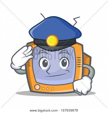 Police TV character cartoon object vector illustration