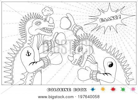Friendly match. Dino boxing. Coloring book. Vector illustration.