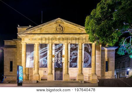 Adelaide Australia - April 16 2017:The Art Gallery of South Australia located on North Terrace in Adelaide CBD at night