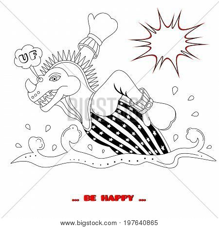Dino on the run. Coloring book. Cartoon style. Vector illustration.