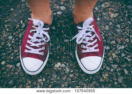 Fashion Hipster Cool Woman With Pink Sneakers. Close Up Summer Bright Image Of Woman Feet, Wearing C