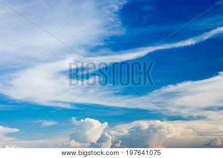 Cloudy blue sky background.Partly cloudy sky on day light.