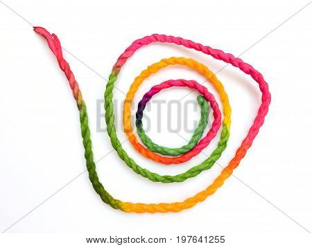 Colorful rope frame isolated on white background.