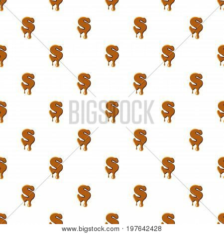Letter S from caramel pattern seamless repeat in cartoon style vector illustration