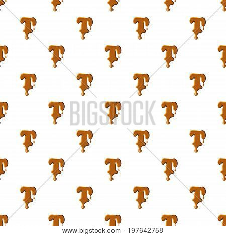 Letter T from caramel pattern seamless repeat in cartoon style vector illustration