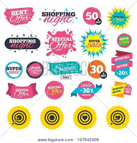 Sale shopping banners. Target aim icons. Darts board with heart and arrow signs symbols. Web badges, splash and stickers. Best offer. Vector