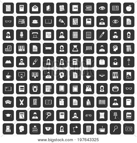 100 reader icons set in black color isolated vector illustration