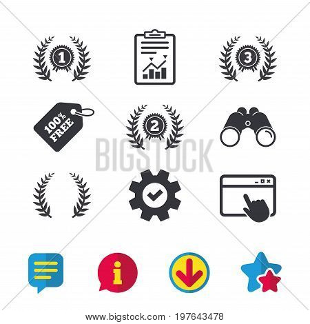 Laurel wreath award icons. Prize for winner signs. First, second and third place medals symbols. Browser window, Report and Service signs. Binoculars, Information and Download icons. Stars and Chat