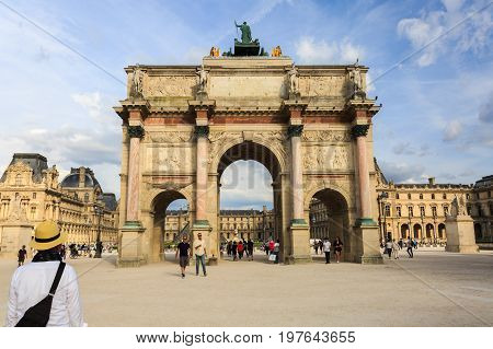 Paris France - May 29 2017: The Arc de Triomphe du Carrousel is a triumphal arch in Paris located in the Place du Carrousel.
