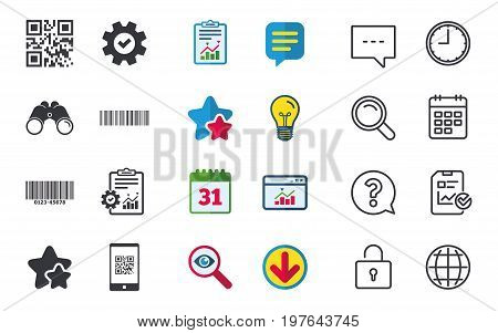 Bar and Qr code icons. Scan barcode in smartphone symbols. Chat, Report and Calendar signs. Stars, Statistics and Download icons. Question, Clock and Globe. Vector