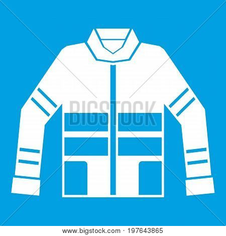 Firefighter jacket icon white isolated on blue background vector illustration